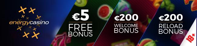 €5 No deposit by Energy Casino